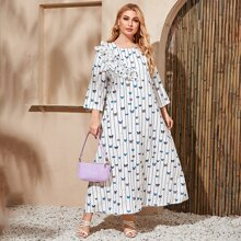 Kleid mit Streifen & Schmetterling Muster und mehrschichtiger Ruesche