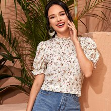 Frill Trim Puff Sleeve Floral Print Top