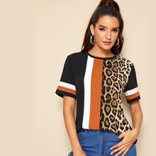 T-Shirt mit Leopard Muster und Farbblock