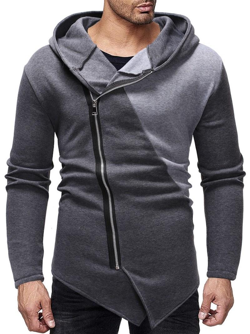 Ericdress Color Block Zipper Cardigan Casual Men's Slim Hoodies