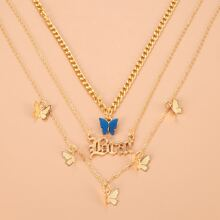 Butterfly & Letter Design Layered Necklace