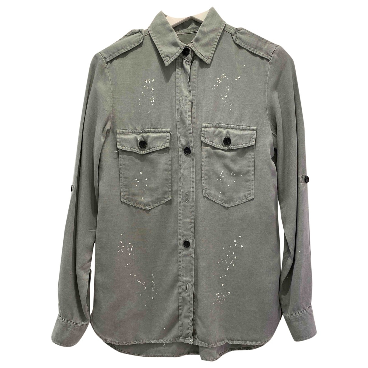 Zara - Top   pour femme en coton - vert