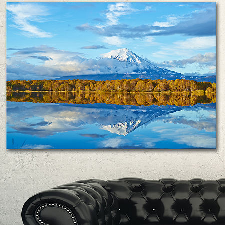 Designart Ancient Volcano And Lake Panorama Landscape Canvas Wall Art, One Size , Blue
