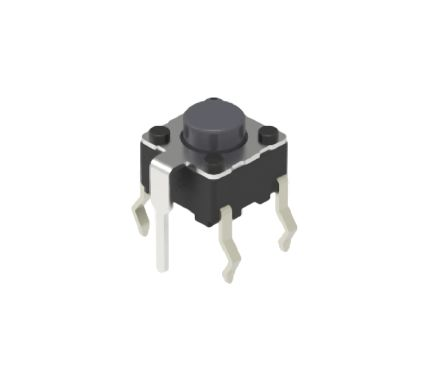Alps Alpine Grey Cap Tactile Switch, Single Pole Single Throw (SPST) 50 mA 1.4mm Snap-In (10)