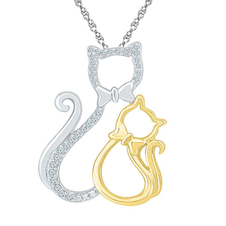 Womens Diamond Accent White Diamond 10K Gold Over Silver Pendant Necklace, One Size , No Color Family
