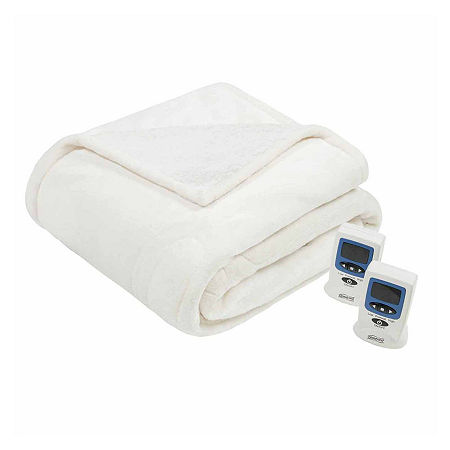 Beautyrest Solid Microlight To Berber Heated Electric Blanket, One Size , White