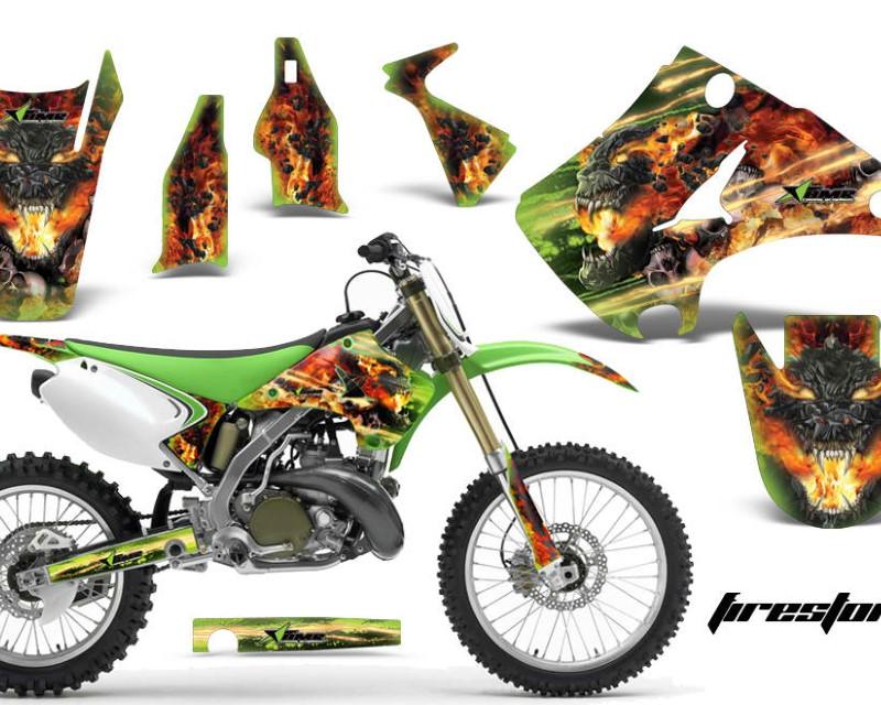 AMR Racing Dirt Bike Decal Graphics Kit Wrap For Kawasaki KX125 | KX250 2003-2016áFIRESTORM GREEN
