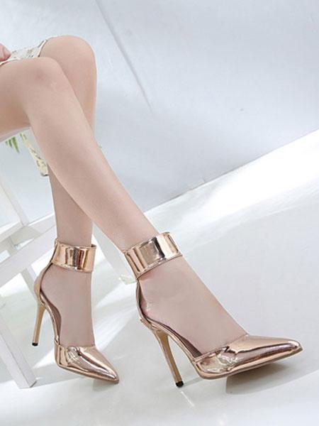 Milanoo Oro Tacones altos Mujer 2020 Zapatos Puntiaguda Punta Correa de Tobillo Pumps