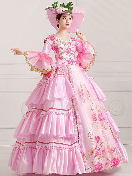 Milanoo Victorian Dress Costume women's Victorian Royal Halloween Ball Gown Pink Victorian era Clothing Pageant Dress Halloween