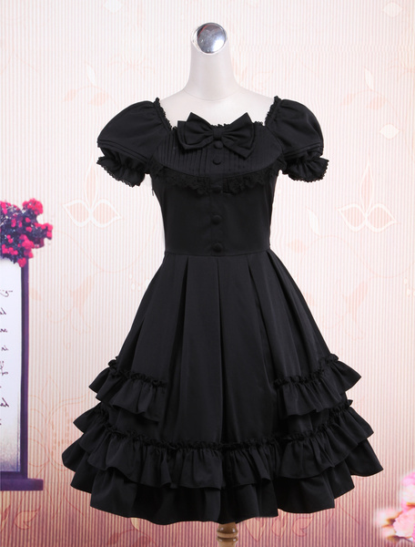 Milanoo Sweet Black Short Sleeves Bow Decorated Cotton Cute Lolita One-Piece