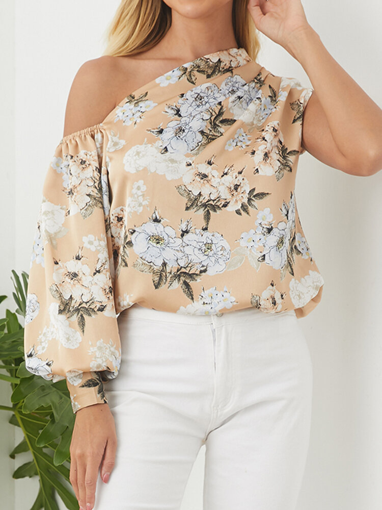 Asymmertrical Floral Print Latern Sleeeve Plus Size Blouse
