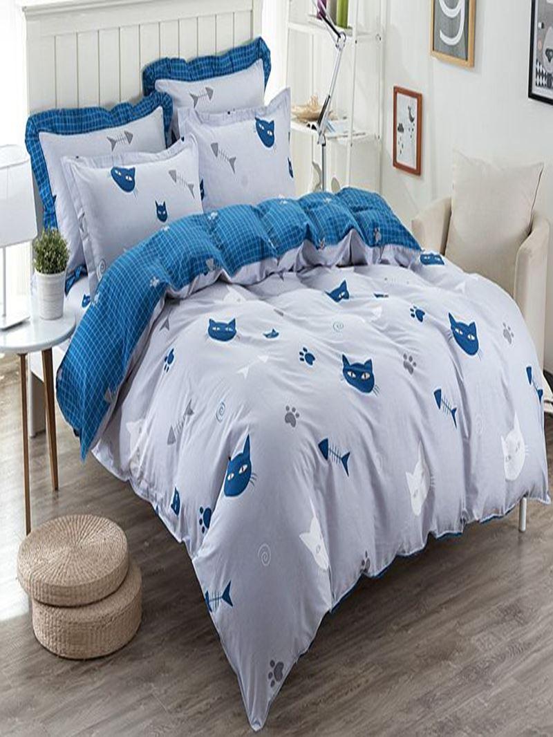 Vivilinen Concise Cats and Fishes Pattern Kids Cotton 4-Piece Duvet Cover Sets