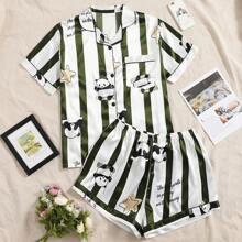 Plus Cartoon Panda Print Striped Pajama Set