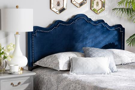 Nadeen Collection BBT6622-NAVY BLUE-HB-QUEEN Queen Size Headboard with 5-Level Adjustable Wood Post  Silver Nailhead Trim  Metal Legs  Medium-Density