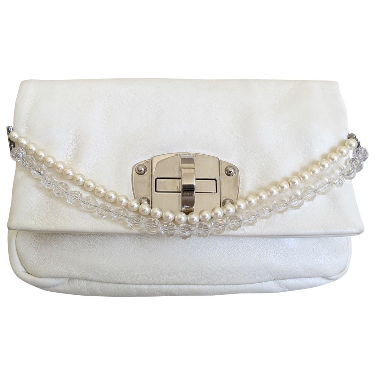 Miu Miu - Pochette Miu Crystal pour femme en cuir - blanc