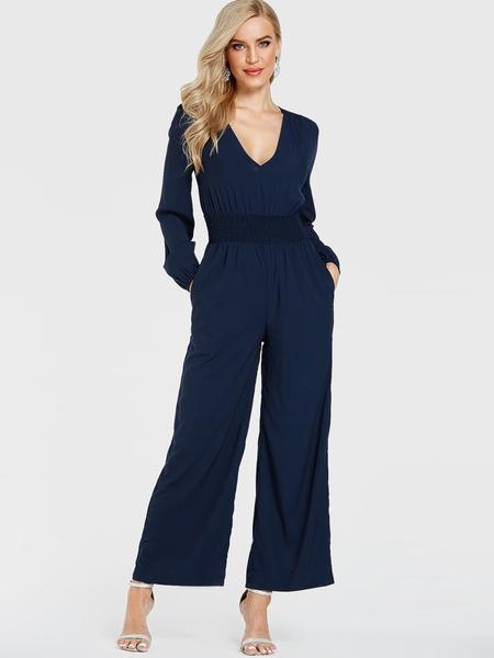 YOINS Navy Shirring V-neck Long Sleeves Jumpsuit