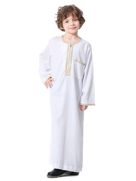 Milanoo Boys\' Arabian Robe Solid Color Long Sleeve Arabian Abaya