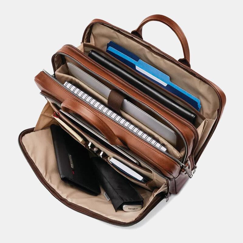 Men 15.6 Inch Solid Business Briefcase Laptop Bag