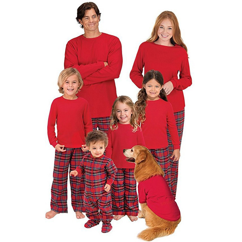 Christmas Pure Red Plus Classic Plaid Family Pajamas Outfit