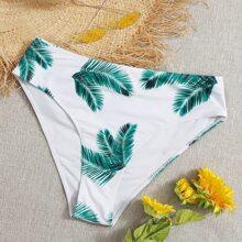 Bikini Hoschen mit Palme Muster und hoher Taille