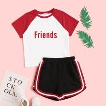 Maedchen T-Shirt mit Buchstaben Muster & Shorts Set mit Streifen Band