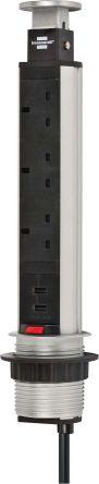 brennenstuhl 2m 5 Socket BS, USB Extension Lead, Black