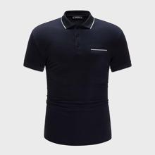 Men Non Functional Pocket Striped Polo Shirt