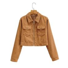 Kord Jacke mit Taschen Klappe und Reissverschluss