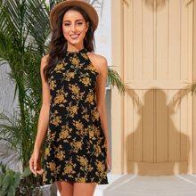 Kleid mit Schluesselloch hinten, Blumen Muster und Neckholder