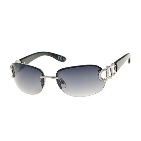 Mixit Rimless Oval With Stone Temples Womens Sunglasses, One Size , Silver