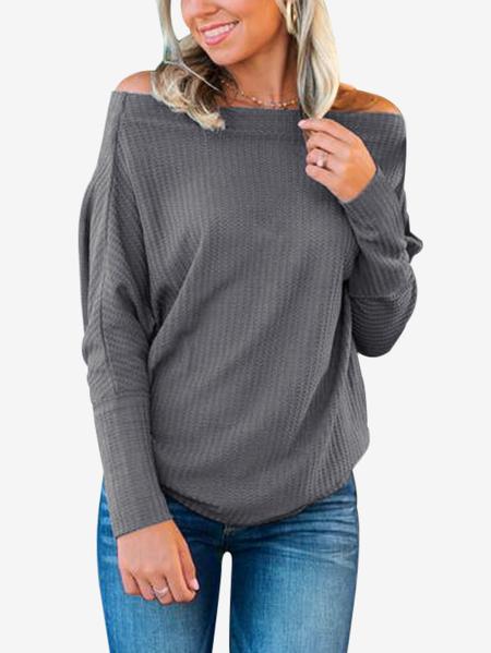 Yoins Grey Off The Shoulder Bat Sleeves T-shirt