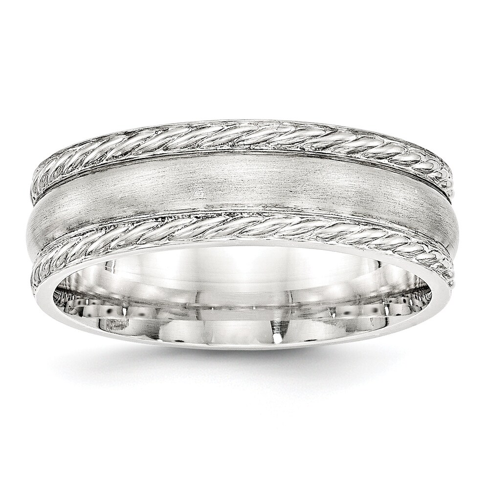 Sterling Silver 6mm Brushed Fancy Band by Versil (13.5)