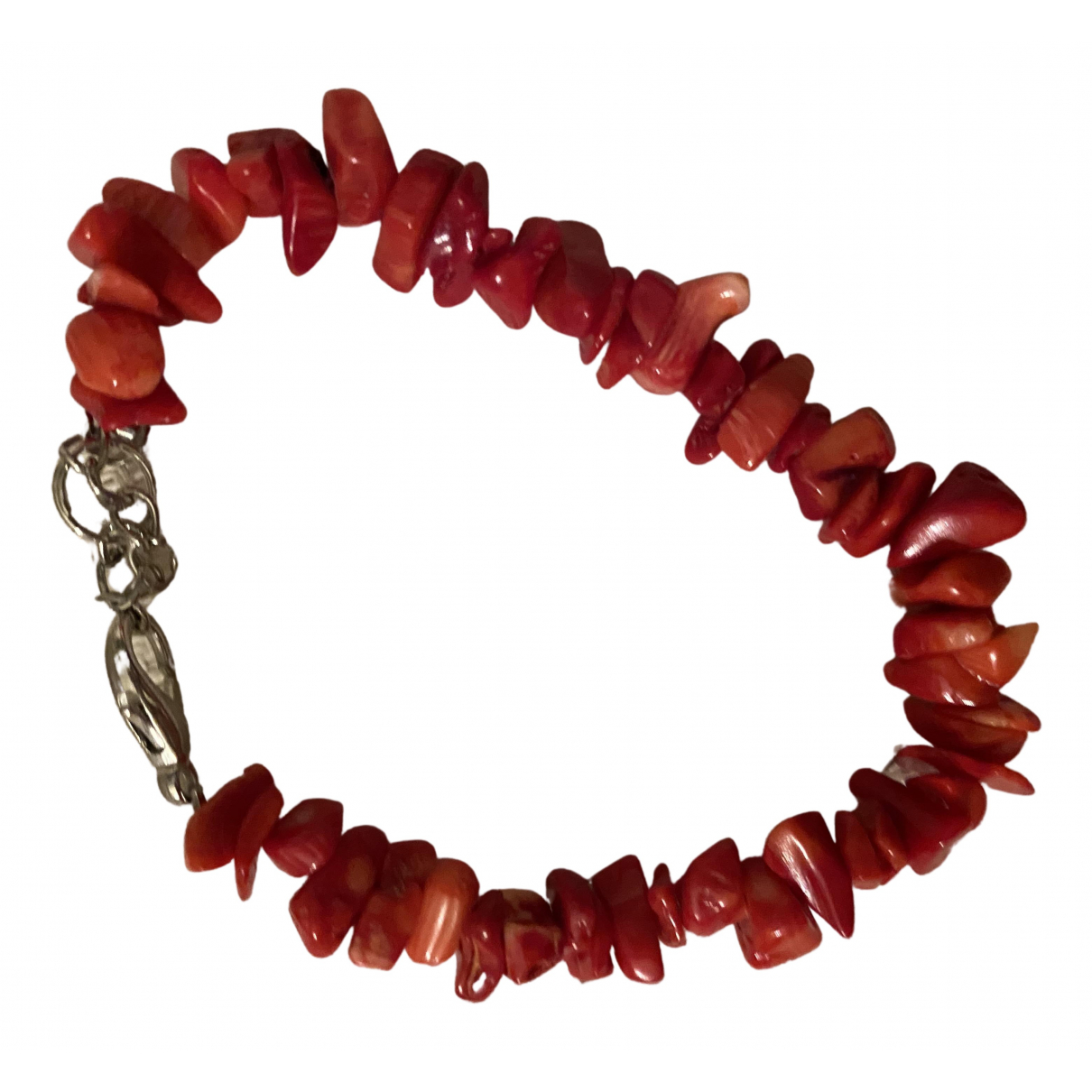 Non Signé / Unsigned Corail Red Metal bracelet for Women \N