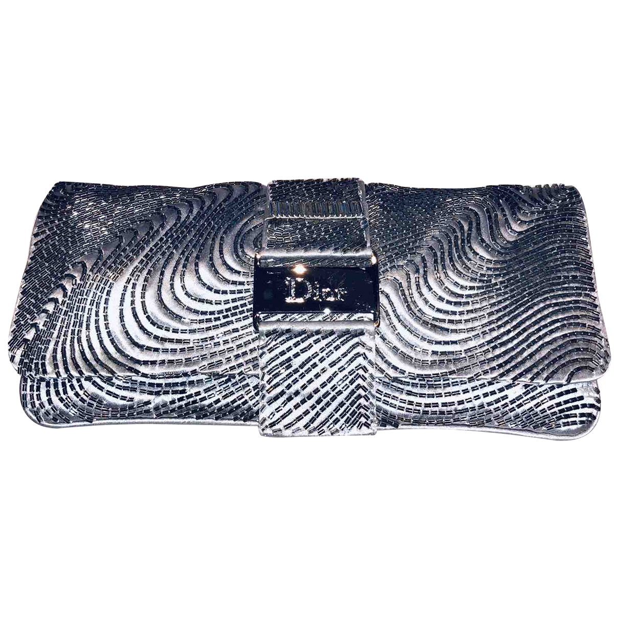 Dior \N Clutch in  Silber Seide