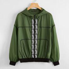 Drop Shoulder Letter Tape Front Wind Jacket