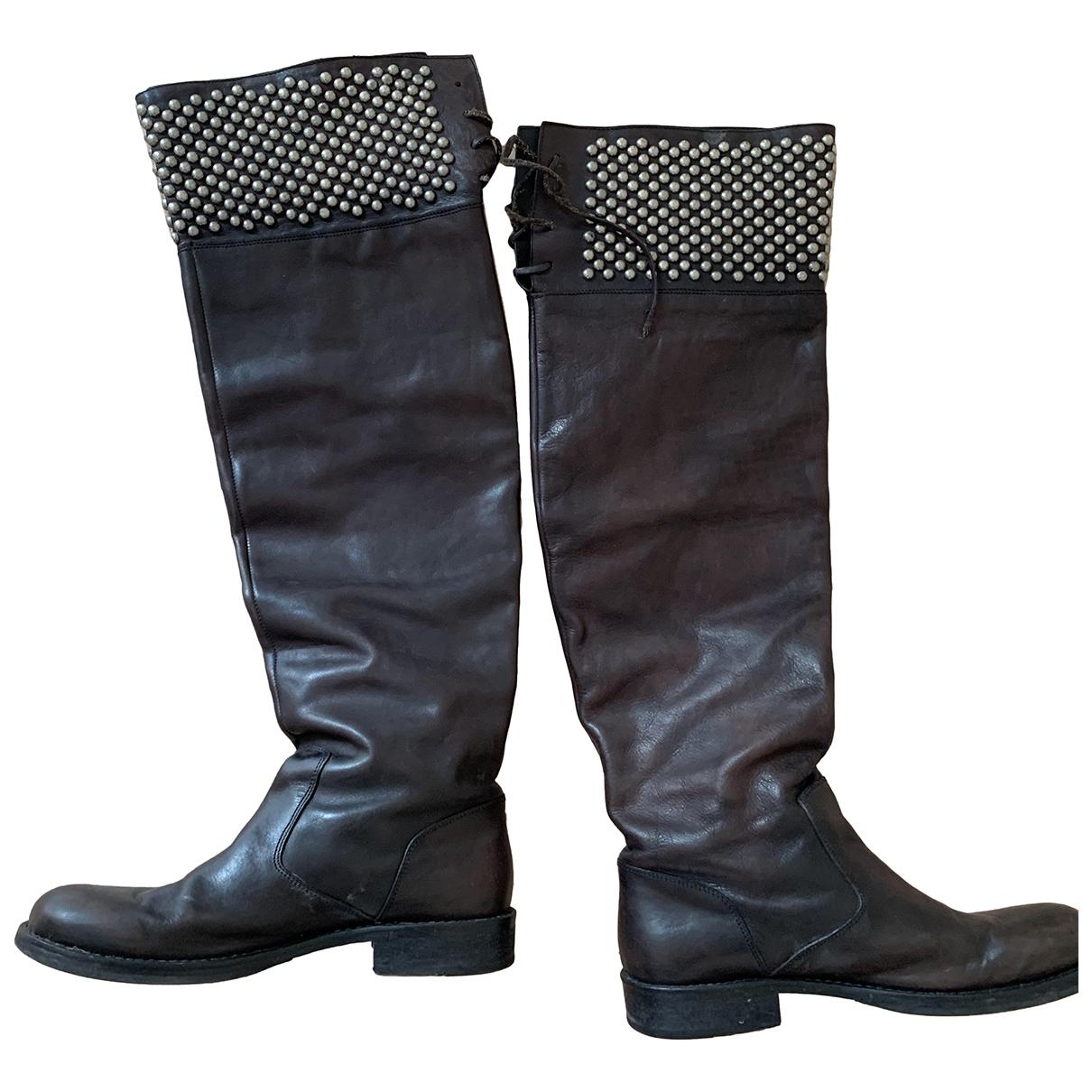 Htc \N Stiefel in  Schwarz Leder
