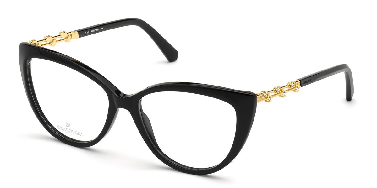 Swarovski SK5382 001 Women's Glasses Black Size 54 - Free Lenses - HSA/FSA Insurance - Blue Light Block Available