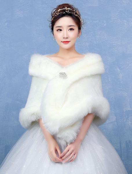 Milanoo Ivory Wedding Wrap Faux Fur Rhinestone Clasp Sleeveless Wedding Shawl