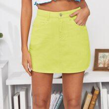 Neon Yellow Slant Pocket Denim Skirt