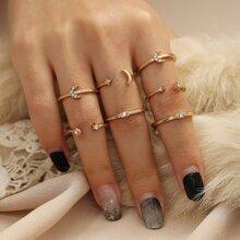 7 piezas anillo con diseño de diamante de imitacion y luna