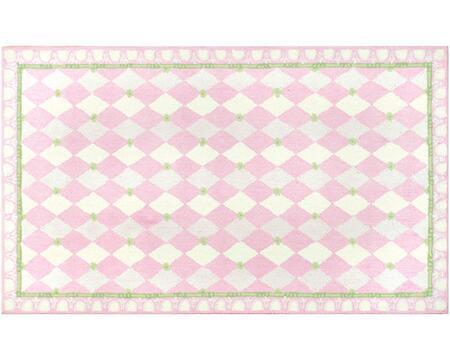 11479D 4.7x7.7 Kids Harlequin Pink Cotton Rug in