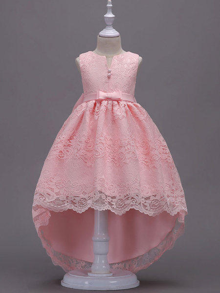 Milanoo Lace Flower Girl Dresses Pink High Low Ball Gowns Sleeveless Bow Sash Princess Party Dresses