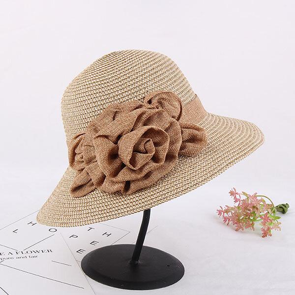 Women Ladies Wide Brim Floppy Beach Sun Straw Hat Casual Travel Sunshade Bohemia Bucket Hat