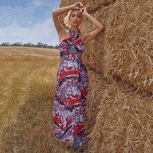 Floral Patchwork Self Belted Cross Wrap Halter Dress
