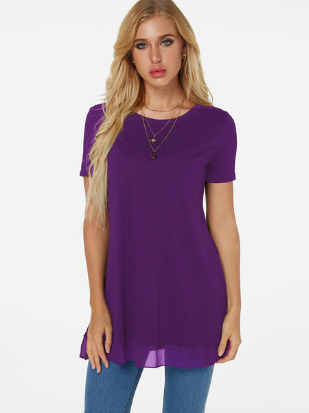 Yoins Purple Tiered Design Plain Crew Neck Short Sleeves T-shirt