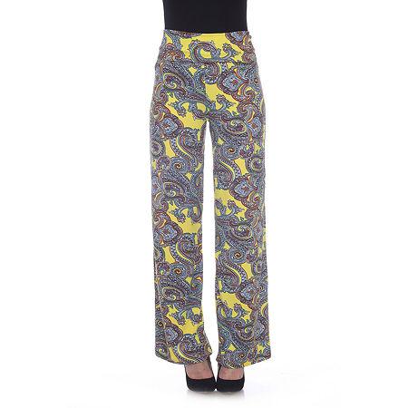 White Mark Womens Mid Rise Wide Leg Palazzo Pant, Small , Yellow