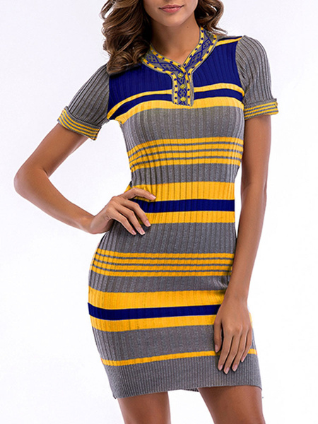 Milanoo Vestido ajustado de rayas con mangas cortas y cuello en V Vestido ajustado