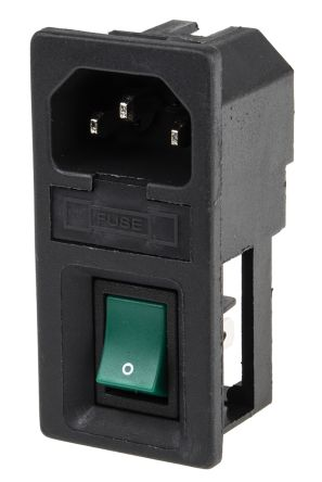 RS PRO C14 Snap-In IEC Connector Male, 6.0A, 250.0 V, Fuse Size 5 x 20mm