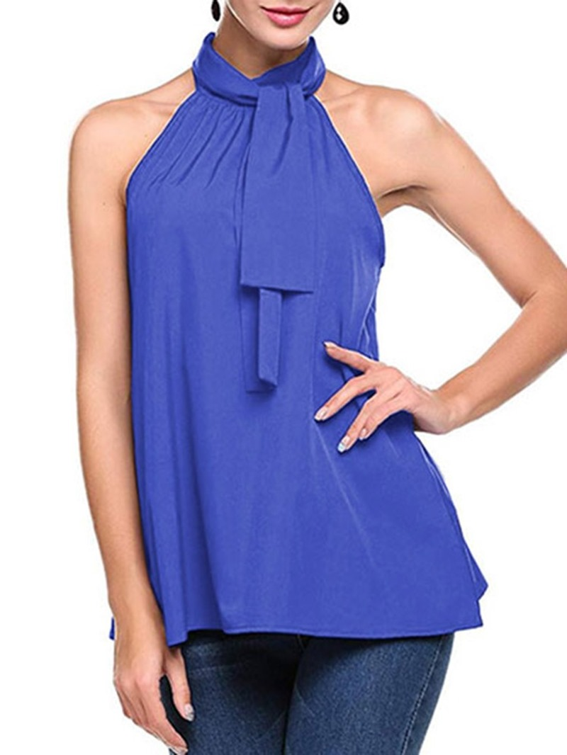 Ericdress Halter Pleated Summer Casual Tank Top