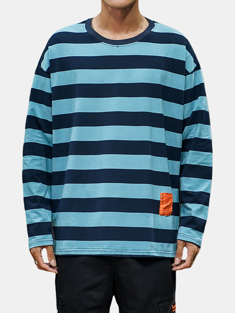 Mens Casual Color Block Striped Long Sleeve T-shirts